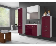 Conjunto de baño CLARENCE - Muebles + lavabo + espejo - Lacado rosa
