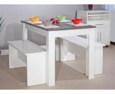 Conjunto mesa + 2 bancos BASTIEN - Bandeja efecto hormigón - Blanco