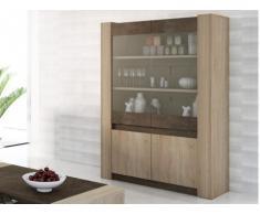 Mueble vitrina SUMAI - 4 puertas y 2 estantes - Colores roble y chocolate