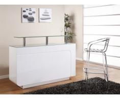 Mueble bar BRADY - MDF lacado blanco & cristal templado - 1 cajón