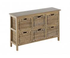 Mueble de almacenaje FEROE II - Mimbre trenzado & caoba natural - 6 cajones