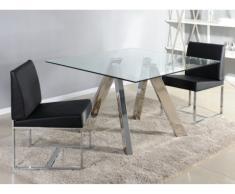 Mesa de comedor DARLENE - 4 comensales - Cristal templado y acero