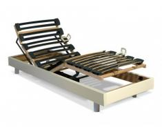 Somier articulado eléctrico láminas multipliegue - 5 posiciones - 70x190 cm - Blanco