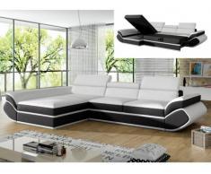 Sofá cama rinconero de piel sintética ORLEANS - Blanco con tiras negras - Ángulo izquierdo
