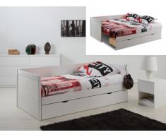 Cama nido y sofá ALFIERO con espacio para guardar - 90 x190cm - Lacado mate blanco