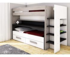 Litera DAVID - 90x190/200 cm - Con compartimentos, cama y escritorios correderos - Pino gris, blanco y antracita