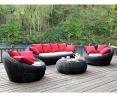 Conjunto de jardín WHITEHEAVEN de resina trenzada gris antracita: sofá, 2 sillones y mesa de centro