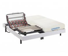 Cama eléctrica de láminas y terminales con memoria de forma DIONYSOS de DREAMEA - motores OKIN - color blanco - 2x90x200cm