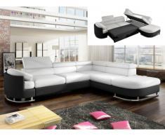 Sofá cama rinconero de piel sintética MYSEN - Blanco y negro - Ángulo derecho