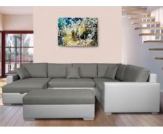 Sofá cama rinconero XXL de tela y piel sintética NIRINA - Bicolor gris y blanco - Ángulo derecho