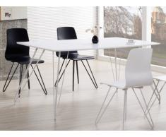 Mesa de comedor VELINA - 4 comensales - MDF y patas de metal - Blanco lacado