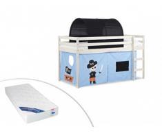 Cama alta PIRATE con cortinas azules y túnel negro - 90x190cm - Pino macizo - Blanqueado + colchón ZEUS 90x190 cm
