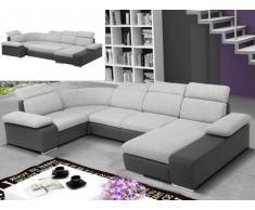 Sofá cama rinconero XXL de tela y piel sintética CYRANO - Bicolor gris claro/gris antracita - Ángulo derecho