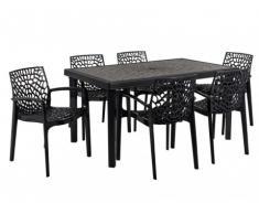 Comedor de jardín DIADEME - Mesa + 6 sillones - Polipropileno - Gris antracita