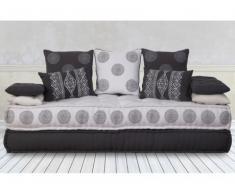 Sofá cama 3 plazas de tela AUSTEN - Gris antracita y blanco