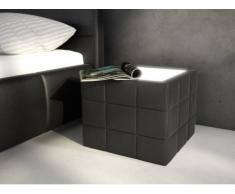 Mesa de noche ELYO - Piel sintética negra con LEDS