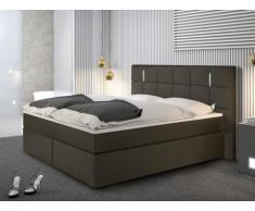 Conjunto boxspring completo cabecero con Leds + somieres patas Leds + colchón + cubrecolchón BILBAO - 2x80x200 cm - piel sintética - Antracita