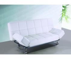 Sofá cama clic-clac de piel sintética ESPOO - Blanco