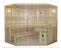 Sauna tradicional finlandesa rinconera IMATRA - 4/5 plazas - Acristalada - Gama Prestige