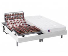 Cama eléctrica 100% látex HOMERE III de DREAMEA - Motor OKIN - Blanco - 2x90x200 cm