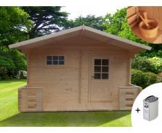 Sauna de uso exterior 4/5 plazas KEVEREI III - 2 cuartos + calefactor 6kW + kit de accesorios