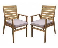 Lote de 2 sillones de jardín AZZAO de madera de eucalipto - Asiento Topo