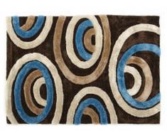 Alfombra shaggy SHIMODA - Azul y chocolate - Poliéster - 120x170 cm