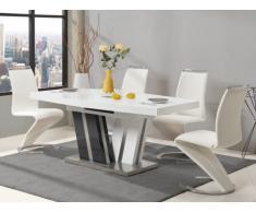 Conjunto de mesa NOAMI + 4 sillas TWIZY - Blanco y gris