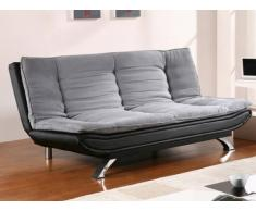 Sofá cama clic-clac de tela y piel sintética DEMIDO II - Gris/negro