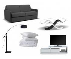 PACK Estudio 7 productos: sofá cama italiano CALIFE gris 140cm, mesa de centro, mueble TV, lámpara, edredón y 2 almohadas