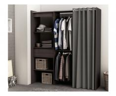 Armario vestidor extensible KYLIAN - Largo 114/168 cm - Chocolate y gris