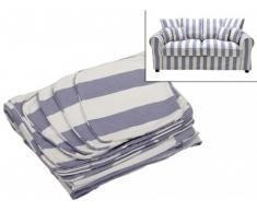 Funda de sofá 2 plazas de tela CLARA - Azul y blanco con rayas
