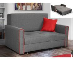 Sofá cama 2 plazas de tela VELLANI - Gris claro con ribete rojo
