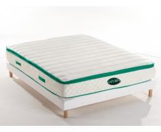 PACK Colchón de muelles y viscoelástica AOLIA de NATUREA + base tapizada - 140x190 cm