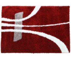 Alfombra shaggy IVANIE - 160x230 cm - Rojo y blanco