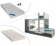 Cama litera con cajón cama nido ANTONIO - 3x90x190 cm - Armario integrado - Pino gris antracita y blanco + colchón nido + 2 colchones ZEUS 90x190