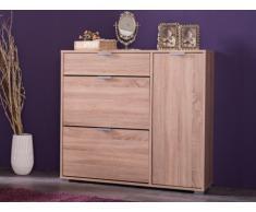 Mueble zapatero ARIETTA - 2 compartimentos, 1 puerta y 1 cajón - Color roble
