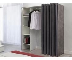 Armario vestidor extensible EMERIC - L.112/185 cm - Efecto homigón y cortina gris antracita