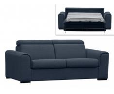 Sofá cama italiano de 3 plazas MARTEL tapizado de tela - azul oscuro