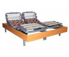 Somier eléctrico 28 láminas y 40 terminales con estructura de madera color cerezo de DREAMEA - 2x70x190cm - motores OKIN