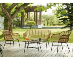 Conjunto de jardín NOSARA de resina trenzada: un sofá 2 plazas, 2 sillones y una mesa de centro - Asiento negro