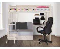 Cama alta GOLIATH con escritorio, sofá y compartimentos - 90x200cm - Pino macizo - Blanqueado