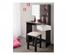 Tocador KATIA - Espejo y espacio para guardar - Blanco y negro