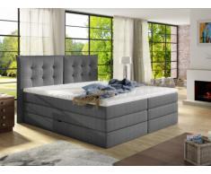 Boxspring cabecero + somieres con baúl + colchón + sobrecolchón PLAISIR de PALACIO - tela gris - 180x200cm
