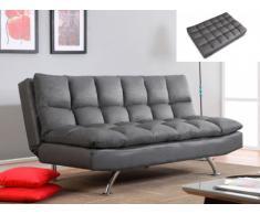Sofá cama clic-clac 3 plazas de piel sintética DIDIER - Gris