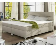 PACK Cabecero + somier + colchón + cubrecolchón PASSION de PALACIO - Tela beige - 2x80x200 cm