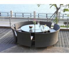 Comedor de jardín RIO GRANDE de resina trenzada wengué: 1 mesa, 2 bancos y 4 sillones