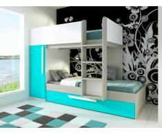 Cama litera con cajón cama nido ANTONIO - 3x90x190 cm - Armario integrado - Pino turquesa y blanco