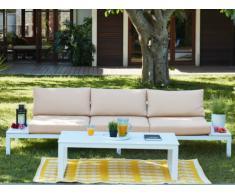 Conjunto de jardín SERAM de aluminio blanco y cojines beige: un sofá de 3 plazas y una mesa de centro elevable