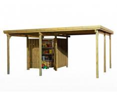 Cubre coche LOTTA de madera con tratamiento clase III y caseta para herramientas - superficie 22m² - techo de PVC